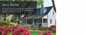 Two story white siding home with pink flower and large front porch and Savvy Buying copy typed over the image in white font