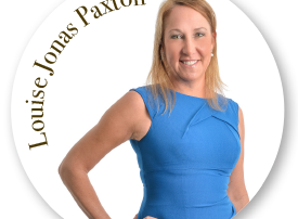Louise Jonas Paxton wearing a blue sleeveless dress round image white background